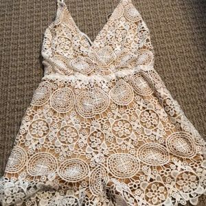 Floral lace white and nude romper